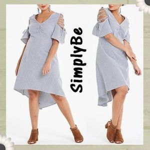 Simply Be striped Lace Up Cold Shoulder Dress